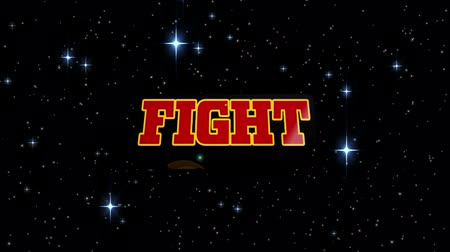 Animation of the word Fight written in red letters over blue flash with glowing stars on night sky in the background. Video computer game screen and digital interface concept digitally generated image. Stock Footage