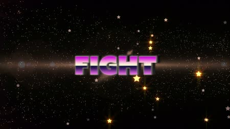 Animation of the word Fight written in pink and purple metallic letters over glowing particles and stars on night sky in the background. Video computer game screen and digital interface concept digitally generated image.