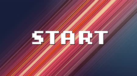 сообщений : Animation of the word Start written in white pixelated letters over multiple pink and yellow light trails moving fast in the background. Video computer game screen and digital interface concept digitally generated image.