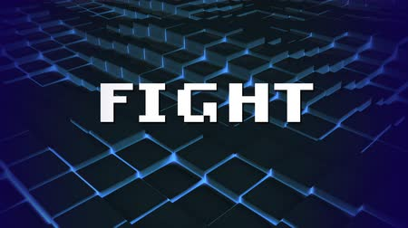 shimmer : Animation of the word Fight written in white pixelated letters over glowing moving blue mesh in the background. Video computer game screen and digital interface concept digitally generated image.