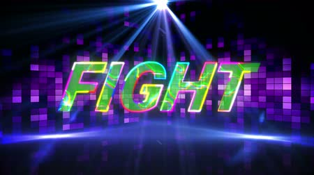 Animation of the word Fight written in multi colored changing letters over glowing and shimmering purple squares and moving spotlight in the background. Video computer game screen and digital interface concept digitally generated image.