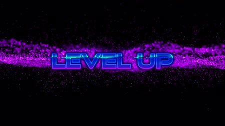 shimmer : Animation of the words Level Up written in metallic pink to blue letters over pink to purple particles moving on black background. Video computer game screen and digital interface concept digitally generated image.