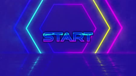 oluşturulan bilgisayar : Animation of the word Start written in purple to blue metallic letters over multi colored glowing neon hexagons on blue background. Video computer game screen and digital interface concept digitally generated image. Stok Video