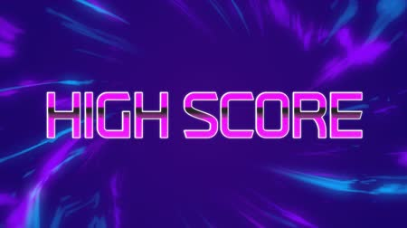 Animation of the words High Score written in pink metallic letters over purple and blue rays of light on purple background. Video computer game screen and digital interface concept digitally generated image.