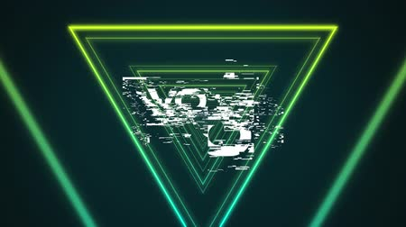 Animation of the word Wow written in white letters in white frame over multiple glowing green triangles moving in hypnotic motion in the background. Video computer game screen and digital interface concept digitally generated image. Stock Footage