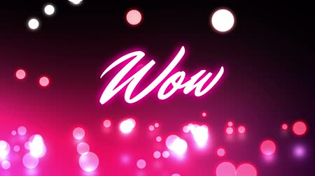 сообщений : Animation of the word Wow! written in pink glowing neon letters over moving pink glowing spotlights on glowing pink background. Video computer game screen and digital interface concept digitally generated image. Стоковые видеозаписи