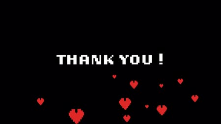 сообщений : Animation of the words Thank You! written in white pixelated letters over floating red pixelated hearts on black background. Video computer game screen and digital interface concept digitally generated image.