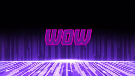 Animation of the word Wow written in pink and purple letters over multiple purple light trails moving in hypnotic motion in the background. Video computer game screen and digital interface concept digitally generated image. Stock Footage