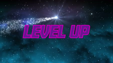 chmury : Animation of the words Level Up written in pink and purple letters over clouds on dark sky and shooting glowing star in the background. Video computer game screen and digital interface concept digitally generated image.