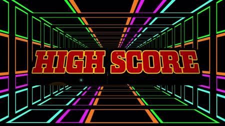 Animation of the words High Score written in red letters over tunnel of multi colored glowing square outlines moving in hypnotic motion on black background. Video computer game screen and digital interface concept digitally generated image. Stock Footage