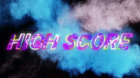 chmury : Animation of the words High Score written in multi colored changing letters over moving blue and pink clouds of smoke in the background. Video computer game screen and digital interface concept digitally generated image.