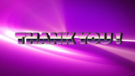írott : Animation of the words Thank You! written in pink to purple metallic letters over floating white light trail on pink background. Video computer game screen and digital interface concept digitally generated image. Stock mozgókép