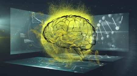 informação : Animation of 3d human brain rotating in seamless loop over glowing yellow globe exploding with spinning DNA strand and medical data processing on screens in the background. Medicine neurology and global explosion concept digitally generated image. Coronav Vídeos