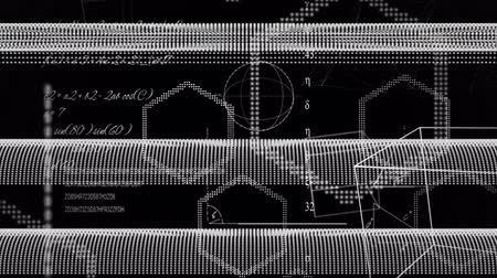 změna : Animation of handwritten scientific formulae, multiple geometric shapes moving and network of moving and crossing lines of flow of information on grey background. Digital computer information communication and connection concept digitally generated image.
