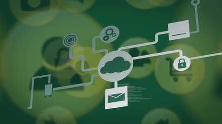 informação : Animation of network of connections with cloud and digital computer icons, data processing and recording on green background. Digital computer interface communication and connection concept digitally generated image.