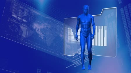 oluşturulan bilgisayar : Animation of blue 3d human model, data processing and statistics recording on screen on blue background. Digital computer interface communication and connection concept digitally generated image. Coronavirus covid19 spreading Stok Video