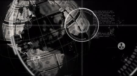 oluşturulan bilgisayar : Animation of globe made with American dollars spinning, network of connections with people icons and data processing on black background. Global finance and digital computer interface communication and connection concept digitally generated image. Stok Video