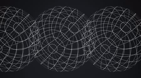 uç : Animation of three white grids of digital globes spinning and data processing on black background. Digital computer interface communication and connection concept digitally generated image. Stok Video