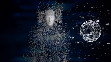 informação : Animation of human model made of grey particles, globe spinning data processing and statistics recording on blue background. Digital computer interface communication and connection concept digitally generated image. Coronavirus covid19 spreading
