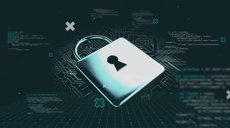nube : Animation of a padlock icon with data processing and computer processor motherboard on grey background. Online safety and digital computer interface communication and connection concept digitally generated image.