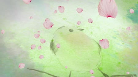 změna : Animation of spring scenery with floating pink flower petals over perched bird in watercolour in the background. Season spring change growth and environment concept digitally generated image.