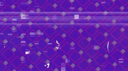 světlo : Animation of distressed vintage film showing multiple rows of light purple squares moving in formation on purple background. Vintage entertainment and movement concept digitally generated image.