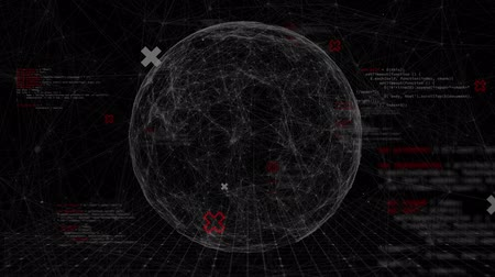 informação : Animation of globe spinning, network of connections with data processing over grid on black background. Global network of connections and digital computer interface communication concept digitally generated image. Coronavirus covid19 spreading Vídeos