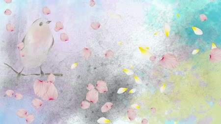 vintage : Animation of spring scenery with floating pink flower petals over perched bird in watercolour in the background. Season spring change growth and environment concept digitally generated image.