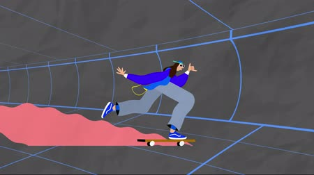 tünel : Animation of a person riding on a skateboard in urban tunnel moving in fast motion on grey background. Vintage retro digital sport entertainment colour and movement concept digitally generated image. Stok Video