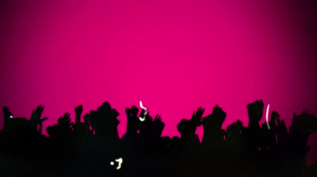 vintage : Animation of distressed vintage film showing silhouettes of people dancing at a music concert with pink and purple stripes rotating on pink background. Vintage entertainment colour and movement concept digitally generated image.