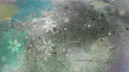 změna : Animation of a delicate white flower pattern over flickering spots of light and world map in the background. Global travel connection and growth concept digitally generated image.