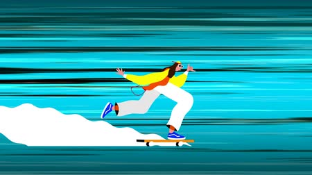 vintage : Animation of a person riding on a skateboard with blue light trails moving in fast motion in the background. Vintage retro digital sport entertainment colour and movement concept digitally generated image.