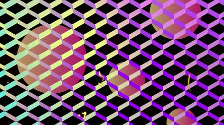 vintage : Animation of orange to pink gradient spheres seen through pink to turquoise mesh with flickering lines in the foreground. Digital geometric shapes colour and movement concept digitally generated image. Stockvideo