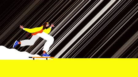 světlo : Animation of a person riding on a skateboard with white light trails moving in fast motion on black background. Vintage retro digital sport entertainment colour and movement concept digitally generated image.