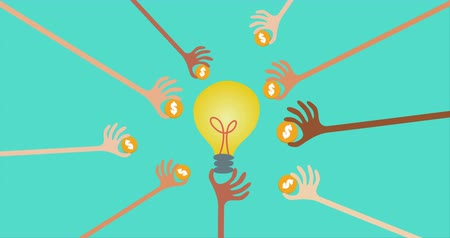 способствовать : Crowdfunding and financial concept with many hands holding money to give their support around the light bulb idea. Стоковые видеозаписи