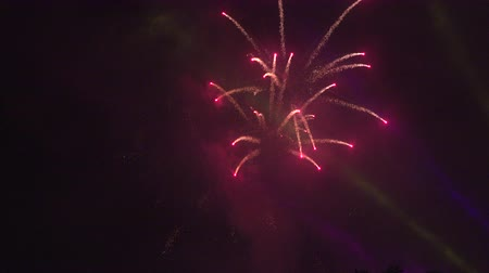 festividades : 4K ES: A large volley a fireworks explodes in the night sky celebrating the 10th anniversary of the Red Rock Casino in Las Vegas. Circa 2016 Stock Footage