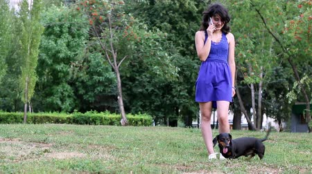 tacskó : Young woman standing in park with her dachshund small dog and is talking on the mobile phone