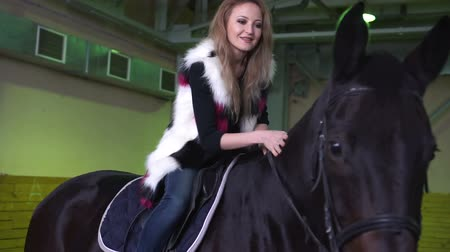 rider : A horse girl and stroking her hand while the horse standing. Indoor Stock Footage
