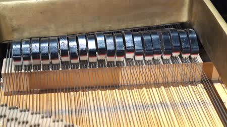 piano parts : piano hammers, Mechanic hammers and strings inside old piano, piano hammer mechanism Stock Footage
