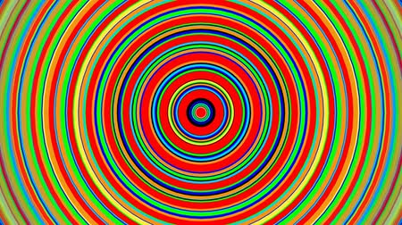 concêntrico : Rainbow color concentric circles growing. Seamless loop smooth 3D animation. Abstract background