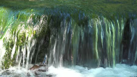 torrente : Stream water from waterfall flowing on stones in river. Mountain waterfall in jungle