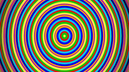 ekolayzer : Digital audio equalizer concentric colorful funny circles. Computer generated animation.