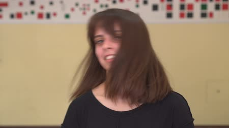 sırıtma : Beautiful long haired girl says No. By shaking her head. Young beautiful woman says No, meaning NO. Stok Video