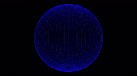 natuurkunde : Plexus style loop rotate sphere animation cycle. Blue dots and Lines on the alpha transparent background