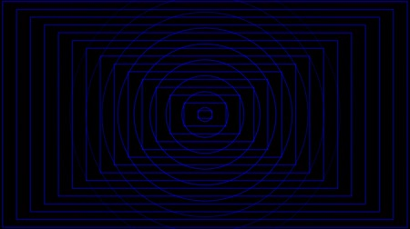 Abstract blue circle and rectangle beating on black background 影像素材