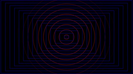 Abstract red circle and blue rectangle beating on black background Vídeos