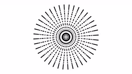 primitív : Abstract white circular pattern is rotating, disco backdrop, signaling communications information, optical Stock mozgókép