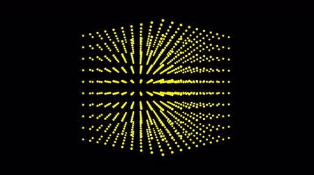 atomový : Beautiful yellow cube box is rotate, dot particle.