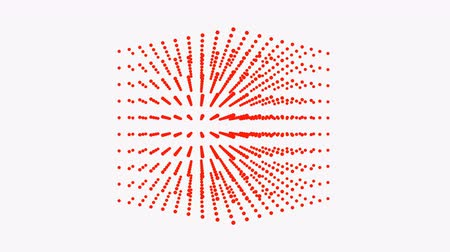 filare : Beautiful red cube box is rotating, dot particle. Filmati Stock