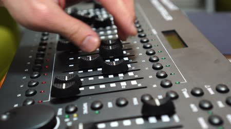 amplificador : music or light technology, hands using mixing console in sound recording studio